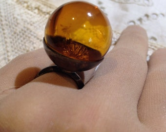 Vintage Hand Carved Golden Baltic Amber ball Ring