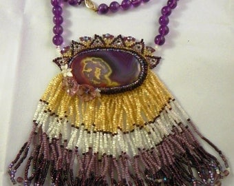 Rare Purple Agate Beaded Necklace (N-003)
