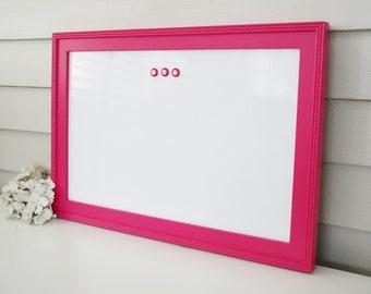 "Cottage Magnetic Dry Erase Board - Whiteboard Bulletin Board 15"" x 22"" Handmade Solid Wood Frame in Hot Pink Memo Magnet Board"