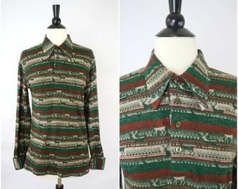Vintage HOLIDAY Christmas reindeer retro shirt / long collared woodland fair isle tee