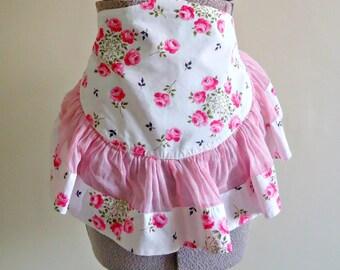 Apron Vintage Aprons Half Apron Pink Floral Sheer 1960's