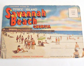Souvenir Folded Postcard Savannah Beach Tybee Island Georgia Postcards 1940's