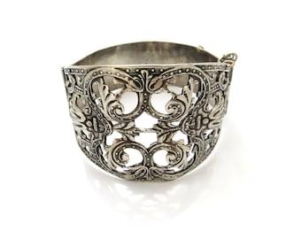Vintage Silver Bracelets, Wide Cuff, Peruzzi Style Filigree, Chunky Statement Bangle, Goth Bracelet, Steampunk Antique Jewelry