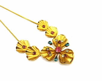 Gold Pink Blue Rhinestones Flower Necklace Calla Lily 1960s Statement Necklace