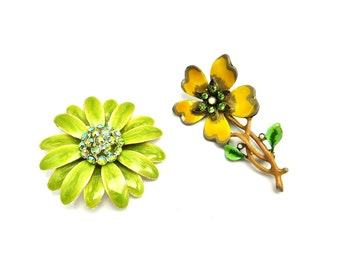 Enamel Flower Brooch Lot, Green Yellow Flower Pins Pair, Signed Vintage Rhinestone Brooches, April Finds, Gifts For Her, Flower Jewelry