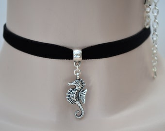 SEAHORSE Charm Pendant -  Black or Choose Another Color 10mm Velvet Ribbon Choker Necklace. ee  :)