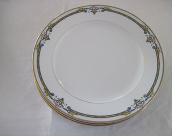 3 Antique Vintage Noritake Porcelain China Dinner Plates Amiston Pattern Circa 1930's
