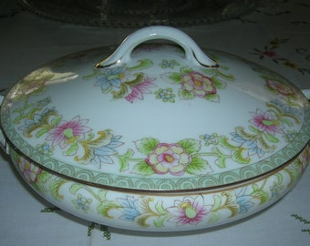 Antique Vintage Noritake Nippon Porcelain China Round Covered Vegetable Serving Bowl Flamengo Pattern Circa Early 1900's