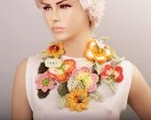 Butterfly flower  crochet  lariat scarf ,lariat crochet jewelry,spring scarf