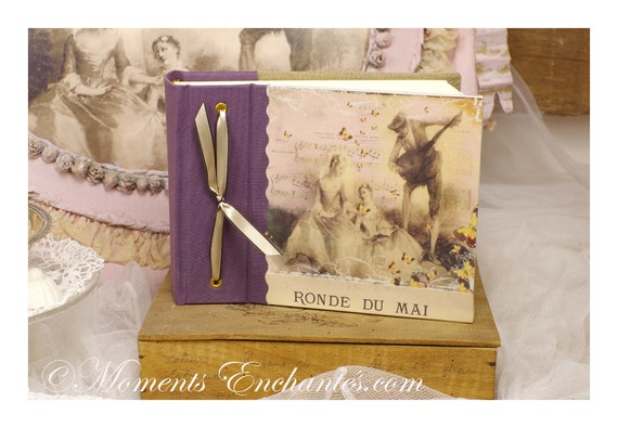 Album photo style Marie Antoinette XVIII shabby chic pink purple photos souvenirs