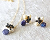 SET: 14k Solid Gold - Blue labradorite wire wrapped cluster stud earrings and necklace