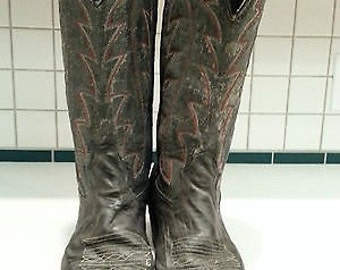 Mens 7.5 leather cowboy western riding biker motorcycle boots