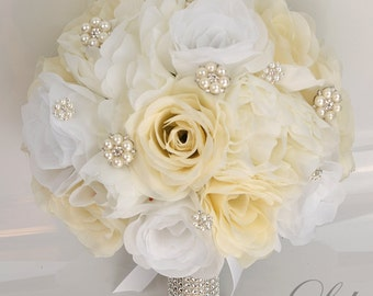 """17 Piece Package Silk Flowers Wedding Bridal Bouquet Party Bride Artificial Bouquets Decoration IVORY WHITE PEARLS """"Lily of Angeles"""" IVWT01"""