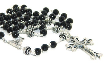 Black Onyx Rosary, Chi Rho Center, Handmade Catholic Rosary