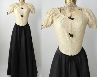 1940s Dress, 1940s Gown, Vintage Dress, Vintage Lace Dress, Vintage 40s Dress, Vintage Black Gown, Vintage Black Dress, Cream Lace Gown, 40s