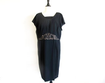 Vintage 50s Plus Size Dress, Black Semi Formal Evening Dress, Cocktail Length Dress