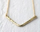 Gold Filled Chevron Necklace - Geometric Hammered Gold Fill Necklace Jewelry - Minimalist Jewelry by Burnish