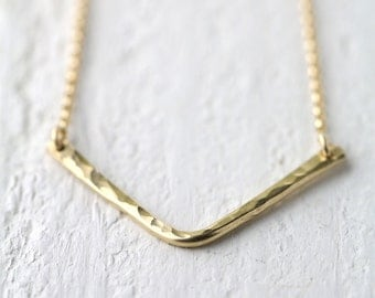 Gold Filled Chevron Necklace, Gift for Her, Gift for Women, Hammered Gold Fill Necklace Jewelry by Burnish