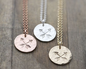 Crossed Arrows Friendship Necklace / Hand Stamped Best Friends Gift / Inspirational Jewelry / Gift For Women BFF