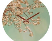 "Spring Blossoms. Wall Clock. Home Décor. Turquoise Sky. Pink Flowers. 12"" Round Clock. Ready-To-Hang. Dorm Décor. Plum Blossoms. Shabby Chic"