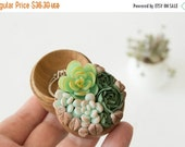 Christmas SALE TO ORDER Only Green Blue Succulent Ring Box Bearer Case Wholesale Wooden Engagement Ring Holder Marriage Offer Ring Case Chri
