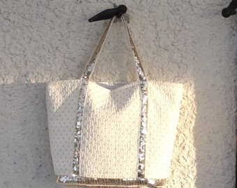 Tote bag with sequins, ecru tote bag with light gold sequins