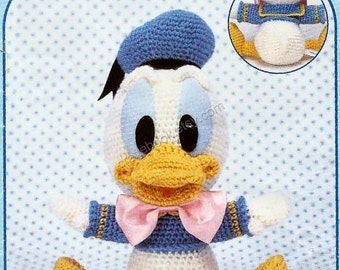 AD02- Crochet Disney Donald Duck Amigurumi, Japanese pattern diagram, PDF