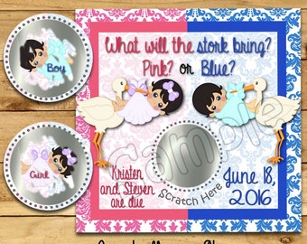 Gender Reveal scratch off cards Stork Baby Pregnancy announcement cards gender announcement cards Baby boy Baby girl favor tags 12 Precut