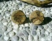 WOODEN Round CUFFLINKS From Spalted OAK Tree Branch Handmade Wooden Cufflinks