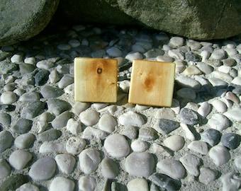 WOODEN CUFFLINKS Square PLUM Handcrafted Wooden Cufflinks