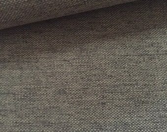 Newest Faux Linen Solid Upholstery Fabric. Soft hand - Extremely durable- Natural look-Washable - Color: Mud - per yard