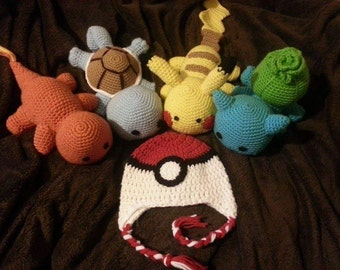 Classic pokemon starter pack. Crochet plush toy set of 4 and pokeball beanie