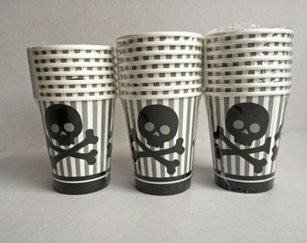 Pirate Birthday Party Cups: Silver, Black Skull Cups