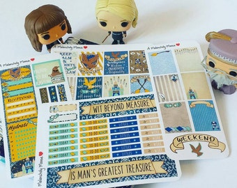 House Ravenclaw ~ Hand-Drawn Harry Potter Inspired Weekly Sticker Kit For Erin Condren Vertical Original & EC HARDBOUND Vertical Planners
