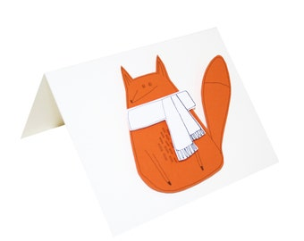 Fox Birthday Card, Handmade Greeting Card, Orange Fox in White Scarf, Funny Fox Card, Blank Card for Friend, Poosac