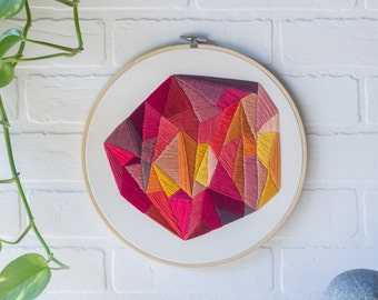 Embroidery Hoop Art | Hand Embroidered | Large, Geometric Design with Red Tones in a Bamboo Hoop