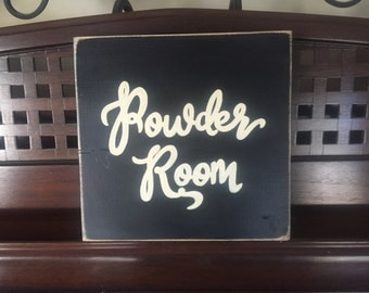 POWDER ROOM Plaque Wooden Sign English Toilet Restroom Bathroom You Pick from 10+ Colors Hand Painted