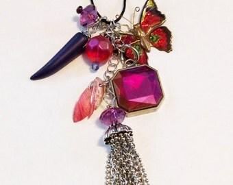 Treasure Tassel Necklace - Magenta Butterfly