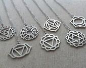 Silver Chakra  Necklace. Chakra Charm. Yoga Jewelry. Layering Layered. Meditation Necklace. Chakra Jewellery