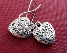 Antique Silver Heart  Earrings. Textured Heart Charm Earrings. Dangle Earrings. Love Earrings, Heart Jewelry, Gift Under 15