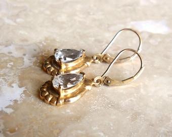 Vintage 10K Gold Clyde Duneier White Topaz Pear Shaped Earrings