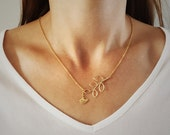 Silver or gold - leaf and bird necklace