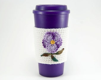 Coffee Cozy, Cup sleeve, Crocheted, Purple Pansy Flower applique, white sleeve, green leaves, mothers day, gift for her, feminine gift