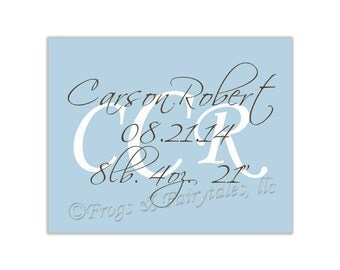 Canvas Birth Announcement Keepsake, Monogram, Stretched Print, Personalized