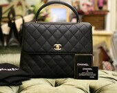 Chanel Black Caviar Quilted Leather Kelly Style Hand Bag
