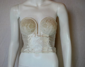 1950s Bali Bow Long Line Bra, 34 B, Ivory Satin Over Wire