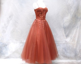 Vintage Emma Domb 1950s party dress - 50s tea length bronze evening dress - Small