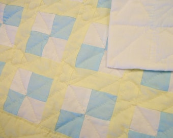 Doll quilt and pillow, yellow, green and white