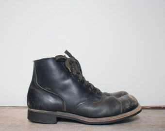 11.5 N | 1960's Short Cap Toe Combat Jump Boots w/ BF Goodrich Soles by Doyle Shoe Co. | Military Gear