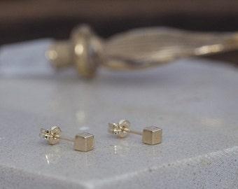 Nova Gold Cube Earrings